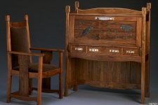 carved walnut desk