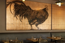 black rooster mural