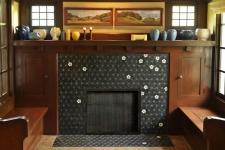 glass fireplace mosaic was inspired by Sashiko