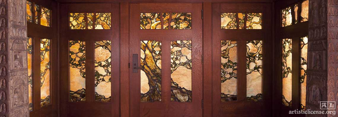 custom leaded glass entry doors