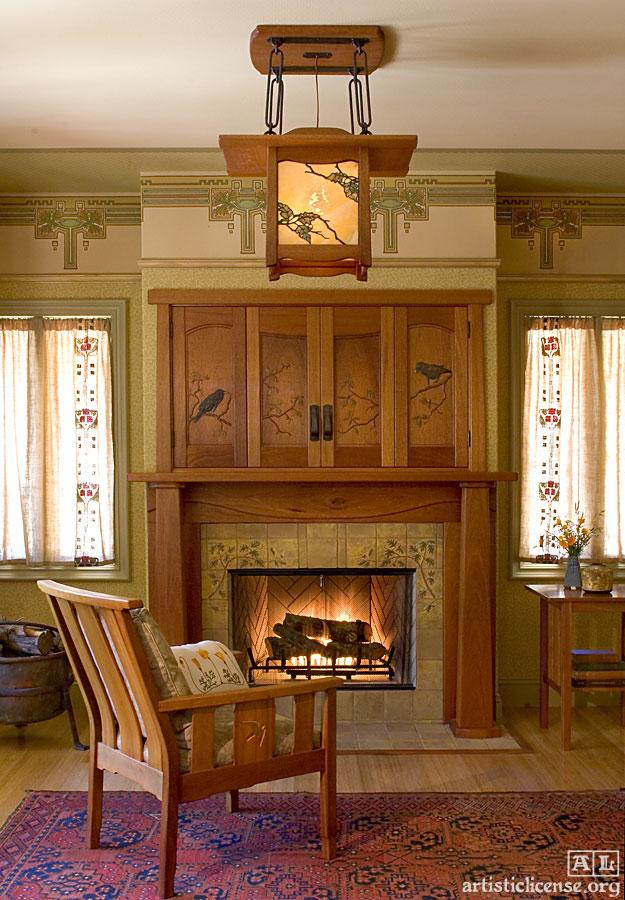 arts crafts movement fireplace craftsman mission interior furniture doors fine zito debey room lantern america mantel tile interiors voysey screen